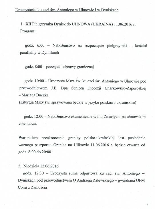 Piesza pielgrzymka z Dynisk do Uhnowa